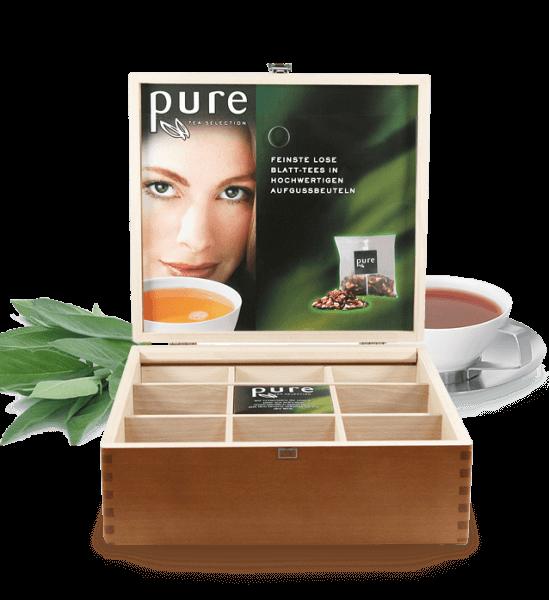 Tchibo Pure Tee Tea Selection Holz Tee Box für 8 Teesorten